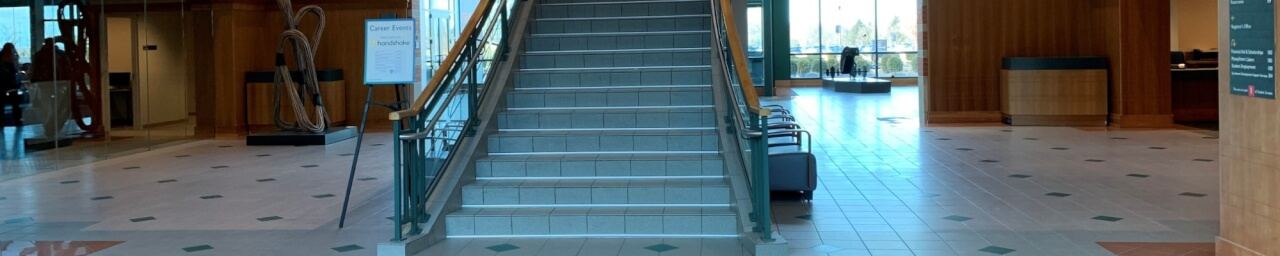 Stairs going up to the Student Academic Success Center